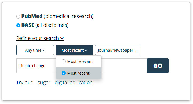 Screen shot of how to select the most recent publications